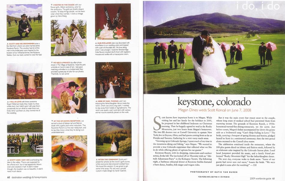 Write up in Destination Weddings and Honeymoons Magazine.